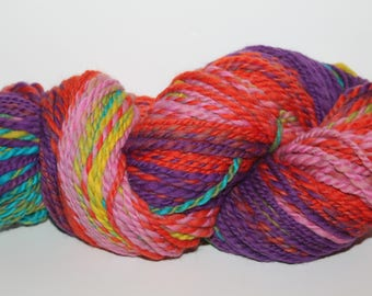 Handspun Merino Wool Yarn.  2ply Bulky Weight. Self Striping. Soft. 6oz. 205 yards