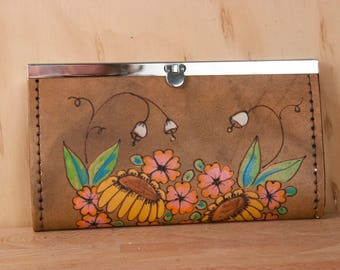 Womens Wallet - Leather clutch wallet with Flowers in Antique Brown - Bloom Pattern in yellow, pink, orange and green