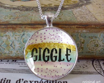 Giggle, glitter pendant, original art pendants,Ready To Ship in a  gift box, Christmas gifts under 20 dollars