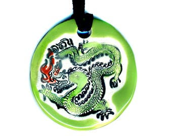 Dragon Ceramic Necklace in Green