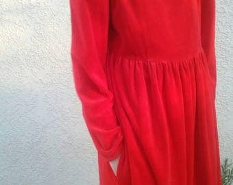 Vintage 80s red velour babydoll dress - goth - street fashion