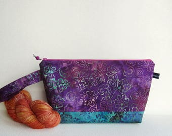 Wedge Bag, Small-Project Knitting Bag, Batik flowers and leaves in purple and turquoise