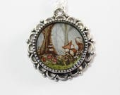 The Fox in the Forest, a Hand-painted Watercolor Necklace in Silver