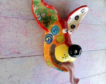 Small Dog Mask Ceramic Wall Hanging Handmade by Dottie Dracos, Wild Wild Things; ceramic dog mask dog mask, 612171