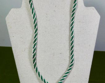 Green and Khaki Spiral Braid Kumihimo Choker 21 inch Necklace