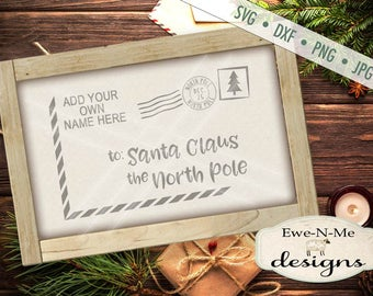 Santa Letter SVG - Santa Envelope svg - Christmas svg - Postcard to Santa - Personalized Christmas svg - Commercial Use svg, dxf, png, jpg