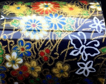 Japanese Fabric Tape -  Dark Blue Tape - Japanese Tape - Plum  Blossom Tape - Leaves - Gold - White - Blue - Green - Yellow