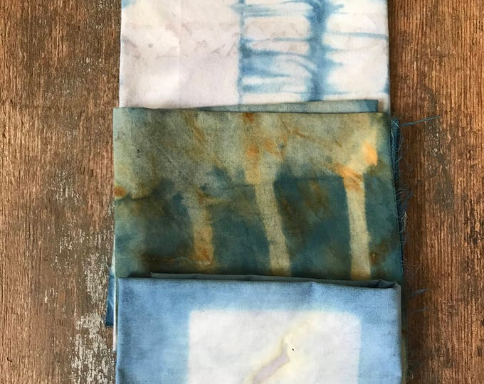 Naturally dyed vintage cotton fat quarter pack, Indigo dyed fabric, hand dyed fabric, fat quarter set, indigo dyed cotton,