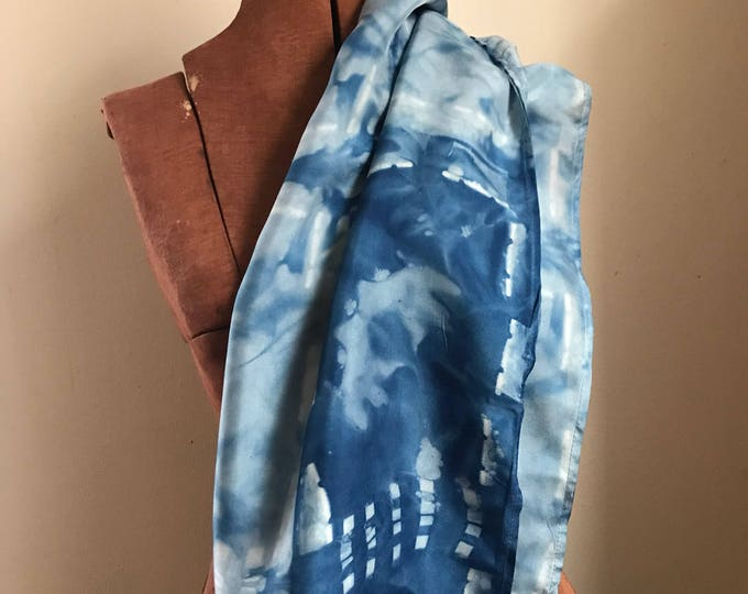 Indigo hand dyed silk cowl, lightweight and warm, silk infinity scarf, natural dyes