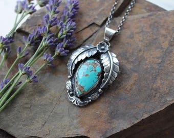 Substantial sterling silver, handmade Royston turquoise pendant and chain. You choose the length of chain.