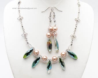 Pearl necklace;Blue pearl;Beaded necklace; Swarovski necklace;Crystal necklace;Swarovski beads; glass beads