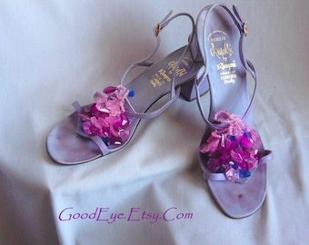 Vintage Jeweled AMALFI High Heel Sandals / size 9 .5 Narrow Width Eu 41  /1960s  Strappy Lavender Leather SLING Back Shoes / made ITALY
