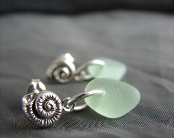 Little Nautilus Sea Glass Stud Earrings /  tiny seaglass earrings / seashell earrings / ocean theme jewelry / natural sea glass jewelry /