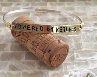 Powered by Ketones Mixed Metal Handstamped Bangle or Bangles   CUSTOMIZABLE