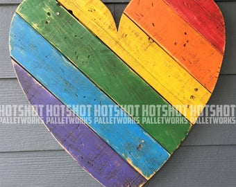Heart, Love, Pride, Rainbow, LGBTQ, Vintage-looking Pallet wood hand made, hand painted sign, #3