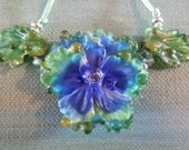 Pansy Drizzle Lampwork Glass Blue Flower Beads Sculpted by Helen's Harvest