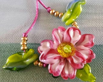 Pink Peppermint Magnolia Lampwork Floral Beads Necklace Helen's Harvest