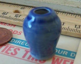 Dollhouse Miniature / Ceramic Vase / Altered Art / Fairy Gardens / Vignettes / Scenemakers / Denim Blue