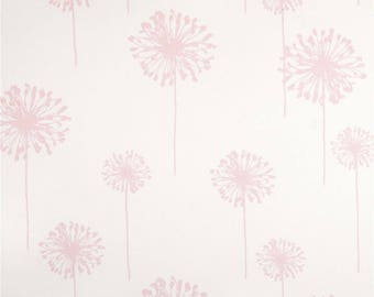 PINK DANDELION FABRIC , Pastel pink and White Fabric,  last one, discontinued, by the Yard, pink dandelions on white, decor