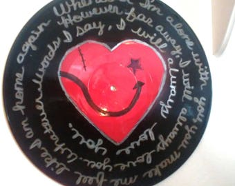 """The Cure """"Lovesong"""" Song Lyrics Record Album Valentine Made From An Upcycled LP"""