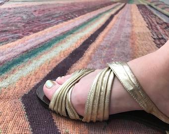 1980s sandals gold sandals cole haan sandals size 7 vintage sandals leather sandals metallic sandals