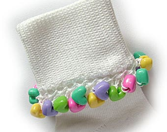 Kathy's Beaded Socks  - Candy Hearts socks, pink socks, bead socks, girls socks, school socks, holiday socks, candy socks, pink socks