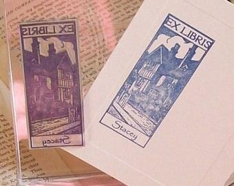 Xmas in July Custom Ex Libris Estate Home Bookplate Stamp A21