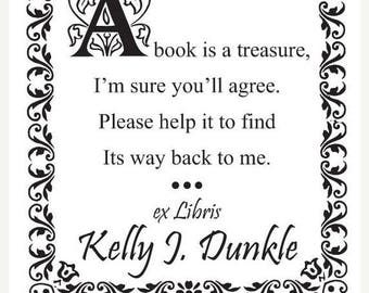 Xmas in July Personalized - A Book is a Treasure - Custom Ex Libris Bookplate Rubber Stamp C13