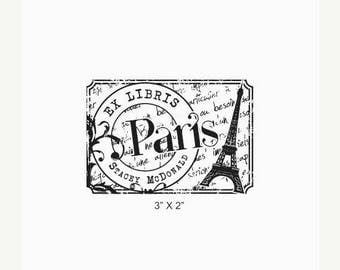 Xmas in July Paris French Distressed Personalized Ex Libris Library Stamp Rubber Stamp K01