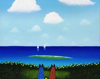 Red Blue Heeler Australian Cattle Dog Clouds Folk art print by Todd Young AT THE BEACH