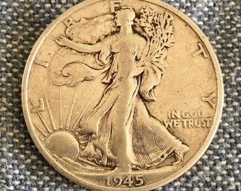 1945 S Half Dollar V.G. Toned Patina SILVER STANDING LIBERTY Coins  Harder to find - Free Usa Shipping