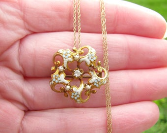 Antique Gold Diamond Enamel Flower Pendant Brooch, Solid Gold with Old Brilliant Cut Diamond, Forget-Me-Not Flower Blossoms, 14K Gold Chain