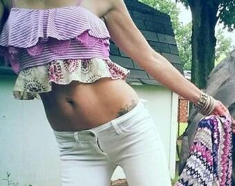 Lace boho crop top