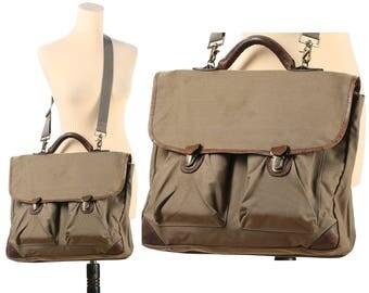 Canvas Leather BRIEFCASE 80s  Laptop Case Vintage Khaki Beige Military Shoulder Bag Large Professor Portfolio School Bag Retro Hipster Large