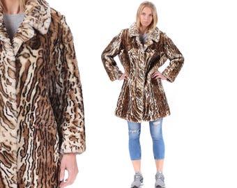 Animal Print Fur Coat 1960s MOUTON Fur Leopard Print Retro Vintage 60s Princess Short Twiggy Party 1950s Winter Coat Large