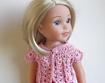 14.5 Inch Doll Clothes Crocheted Sweater Top Handmade to fit the Wellie Wishers and other similar dolls - Light PInk
