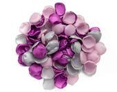 Flower petals - purple, pink and gray fabric petals, wedding petals, handmade silk petals, faux petals, fabric flowers, flower girl, decor