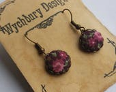 RESERVED FOR LINDA Blackcurrant Flowers -  Fabric Covered Button Earrings.
