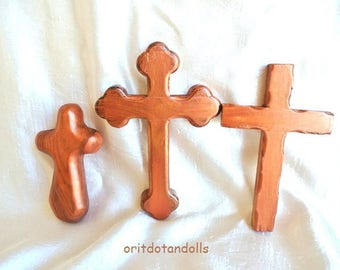 3 CROSSES, olive wood, great to hold at Christmas,  hand carved hand painted in Holy Land