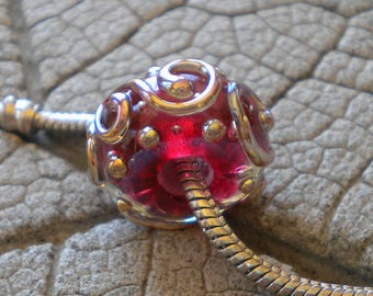 Pink Silver Glass Scroll BHB Lampwork Beads by Cherie Flameworked Bead 5mm hole Pink Encased Scroll Big Hole bead Fushia Big Hole Bead