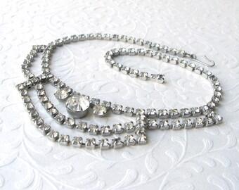 Rhinestone Bib Necklace Classic 1950s Vintage Costume Jewelry Wedding Bridal Formal Ballroom Pageant Prom Mother of Bride Groom MOB MOG MOH