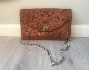 Vintage 70s handtooled revived bohemian purse
