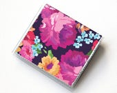 Vinyl Square Card Holder - Margot Purple / case, vinyl, snap, wallet, square wallet, moo case, square, floral, summer wallet, vegan wallet