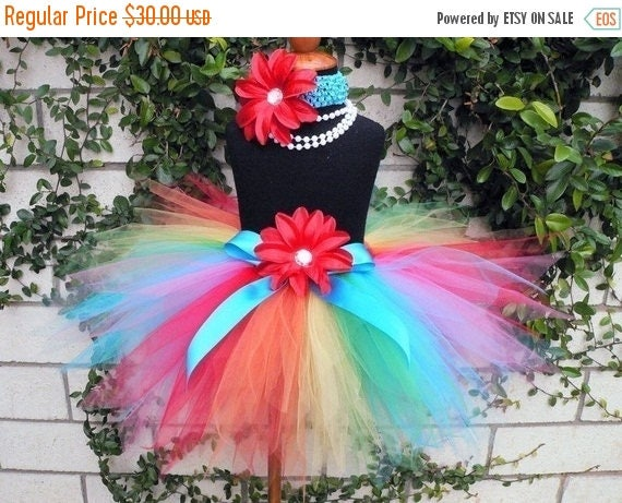 SUMMER SALE 20% OFF Rainbow Tutu - Custom Sewn Tutu - Dancing Rainbow - 11'' Pixie Tutu - up to size 5T