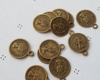 Antiqued bronze coins Charms (12)