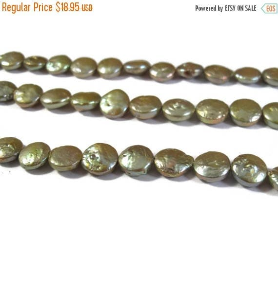 Summer SALEabration - Freshwater Pearl Beads, Light Green Coin Pearls, 16 Inch Strand of Lime Freshwater Coin Pearls, 8.5mm (P-C8)