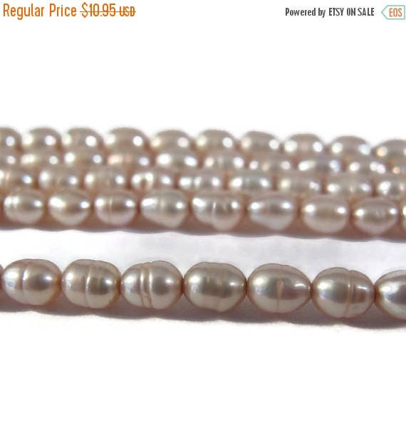 Summer SALEabration - Pink Champagne Pearls, Over 80 Natural Freshwater Rice Pearls, Pale Pink Beads, 15.5 Inch Strand, 5mm x 3.5mm, Jewelry