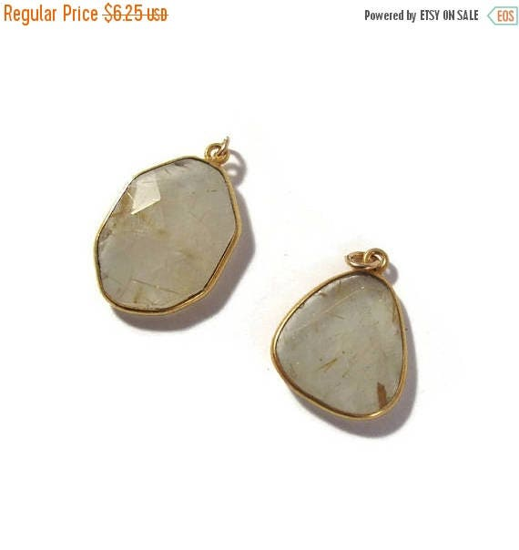 Summer SALEabration - One Gemstone Charm, Gold Rutile Quartz Pendant, Natural Gemstone, Jewelry Supplies (C-Qu4a)