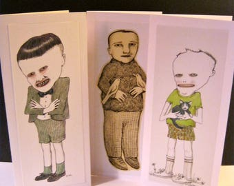 greeting cards- sandy mastroni illustrations,white card stock, three card set, blank inside,  handmade