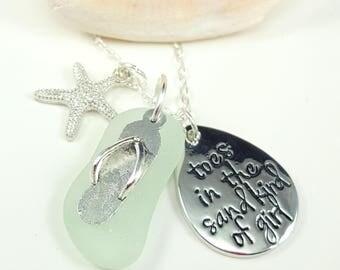 Sea Glass Necklace Sea Glass Jewelry Aqua Sea Glass Pendant Toes in the Sand Necklace Sea Glass Jewelry N-540